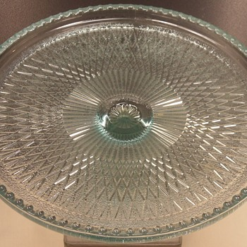 "Cake Stand - Jeannette Glass - Harp - Ice Blue - 10"" - Glassware"