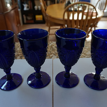 Vintage Blue Wine Glasses - Glassware