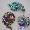 3 UNSIGNED BEAUTIES RHINESTONE BROOCHES