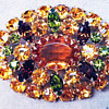 Rare Sherman Fruit Salad Pin, A Barrage Of Hounds Tooth Prongs, Gold Back