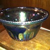Blue carnival glass punch bowl perfect for parties.