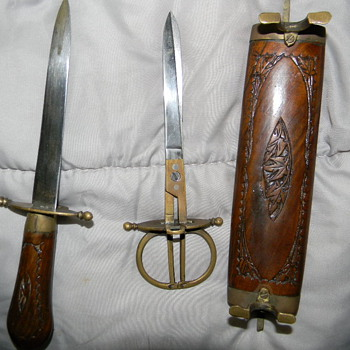 Very Old Letter Opener and Scissors -please call me for more pics, I have no idea what this is. And WW2 piece as well. - Office
