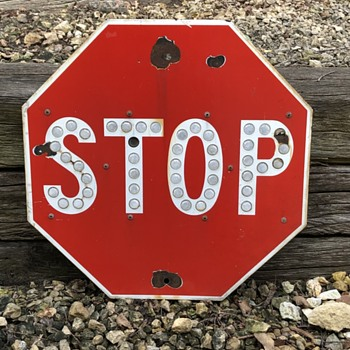 """Stop Sign With Reflectors 24"""" ....Porcelain - Signs"""