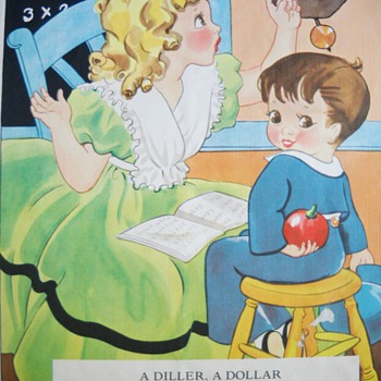 1937 NURSERY RHYME LINEN BOOK - LAST PICTURES - Books