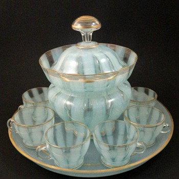 Bohemian Blue-Opalescent Art Glass Punch Bowl Set - Art Glass