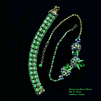 Very Rare SHERMAN Sapphire Rhinestone and Opaque Signed Jade Bracelet & Necklace - Costume Jewelry