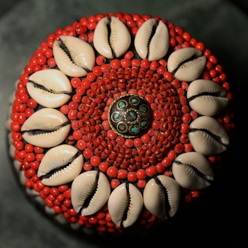 Decorative Basket with Cowrie Shells, Old Glass Trade Beads, and Indian Button - Asian
