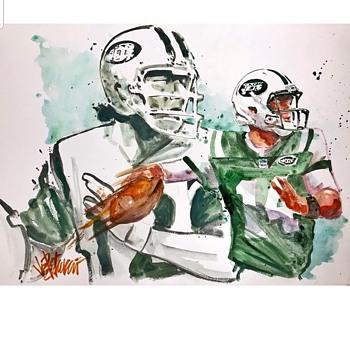 Joe Pettrucio original art Joe Namath Sam Darnold - Football
