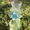 Kralik Art Nouveau satin glass vase with applied daffodil