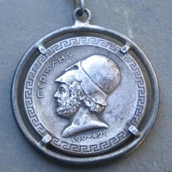 VINTAGE GREEK COMMEMORATIVE MEDAL / MEDALLION / COIN DEPICTING PERICLES