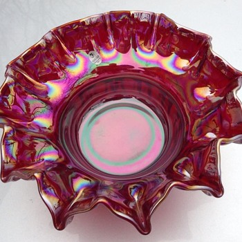 Large Fenton opalescent red bowl - Art Glass