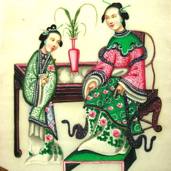 Original Handpainted Japanese Mother and Child - Asian