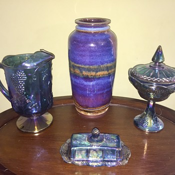Large purple pottery vase and some carnival glass - Pottery