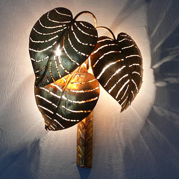 Maison Jansen  Monstera Palm Leaf Wall Lamp - Lamps