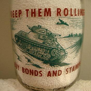 HI-WOOD CREAMERY...JAMESTOWN NEW YORK...WAR SLOGAN MILK BOTTLE WITH TANK - Bottles