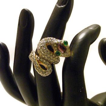 Vintage Kenneth Jay Lane Cobra Rhinestone Ring