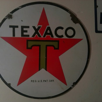 "15"" Texaco Lube Cart Sign"