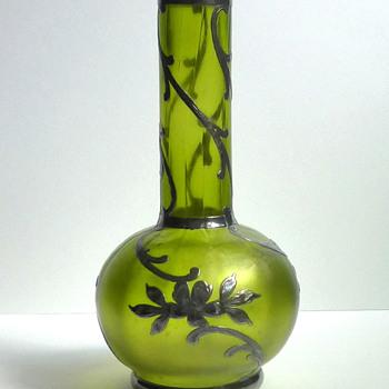 Tiny Bohemian Glass Vase with Silver Overlay - Loetz Creta Glatt? - Art Glass