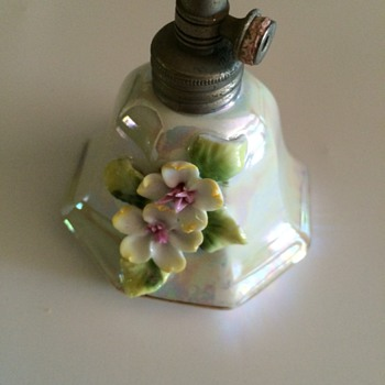 Lusterware with Applied Flowers Perfume Bottle