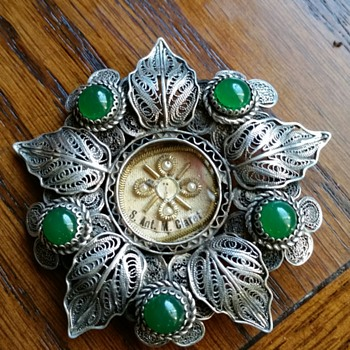 Saint Anthony Reliquary Relic Barque Silver and Chrysophase  - Fine Jewelry