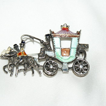 Whimsical  Silver, Marcasite, and Enamel Vintage Brooch - Fine Jewelry