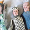 Vintage Red clay puppets Origin unknown 8 inch