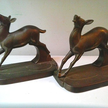 """FrankArt"" Inc. Brass ""Art Deco"" Deer Bookends / Circa 1924-1935 - Books"