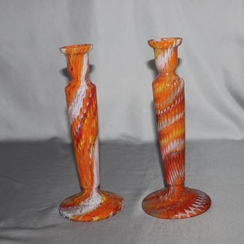Zigzag Candlesticks - Art Glass