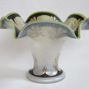 Antique Art Glass Bowl, Iridescent Glass, Hand Painted with Gold/Black design - Art Glass