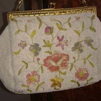 1930's french beaded floral embroided purse  - Bags