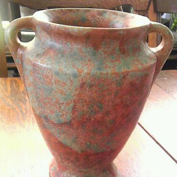 Green mottled rust Burley Winter vase - Pottery