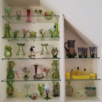 The first completed sections of my new shelving - Art Glass
