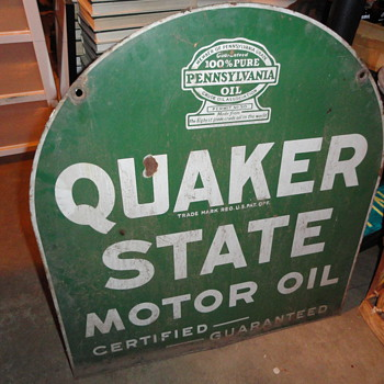 Vintage Tombstone Porcelain Quaker State Sign from the old Bloomington Garage in Southern California. It only took 1 rock. - Petroliana