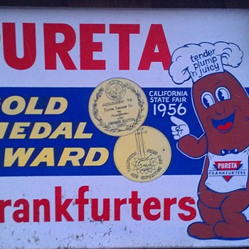 1956 Pureta Frankfurters Gold Medal Award California State Fair - Signs