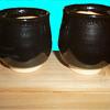 Akahada (?) yuteki tenmoku glaze meoto yunomi set