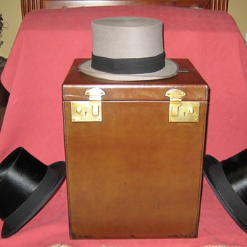 1930's Leather Covered Triple Top Hat Carrier and 1930's Knox New York Silk Top Hats - Hats