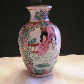 Asian Vase  with Metal Painted Flowers  - Asian