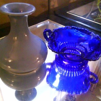 HALL Vase & Cobalt Glassware - Pottery