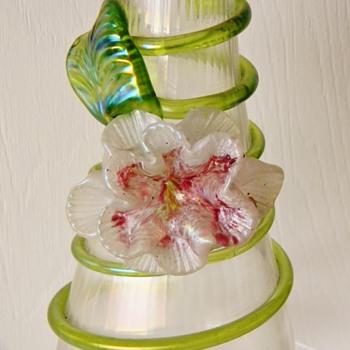 Kralik Applied Flower Iridescent Ribbed Vase - Art Glass