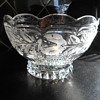 Etched heavy glass/crystal bowl.