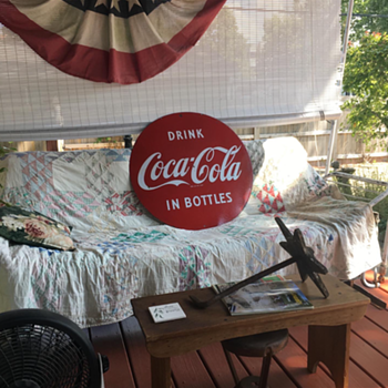 """Coca-Cola 29 1/2"""" double sided porcelain sign  made from 1941-1962 - Coca-Cola"""