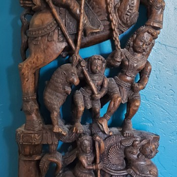 Beautiful Carved Wooden Hindu Chariot Pieces - Asian