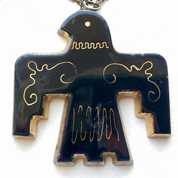 Navajo Ceramic Black and Gold Pendant With Hallmark - Native American