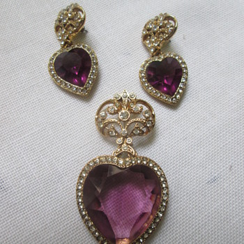 Matching brooch and earrings, purple hearts