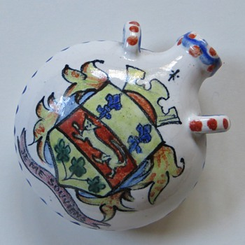 Desvres Fourmaintraux?, Small Flask with Heraldic Motifs - Pottery