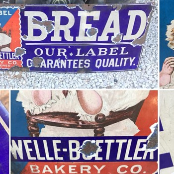 All original Early Porcelain Bread Sign ! 36 inches - Signs