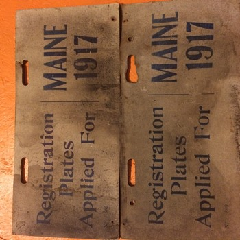 Maine 1917 Temporary Licence Plates