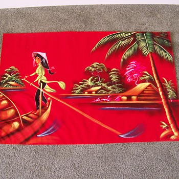 Asian Painting on Red Velour feeling Cloth unsigned - Fine Art