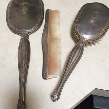 Vintage Sterling Silver Vanity Set - Silver