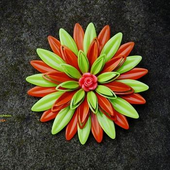Vintage Enamel Flower Power Brooch - Costume Jewelry
